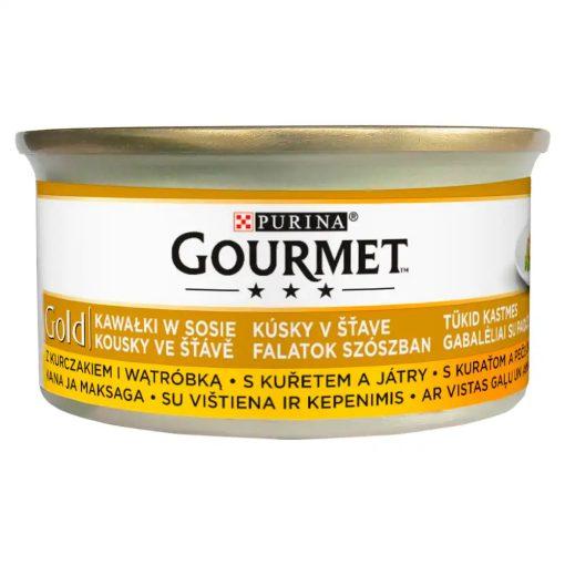 GOURMET GOLD Csirkével és májjal szószban nedves macskaeledel 85g